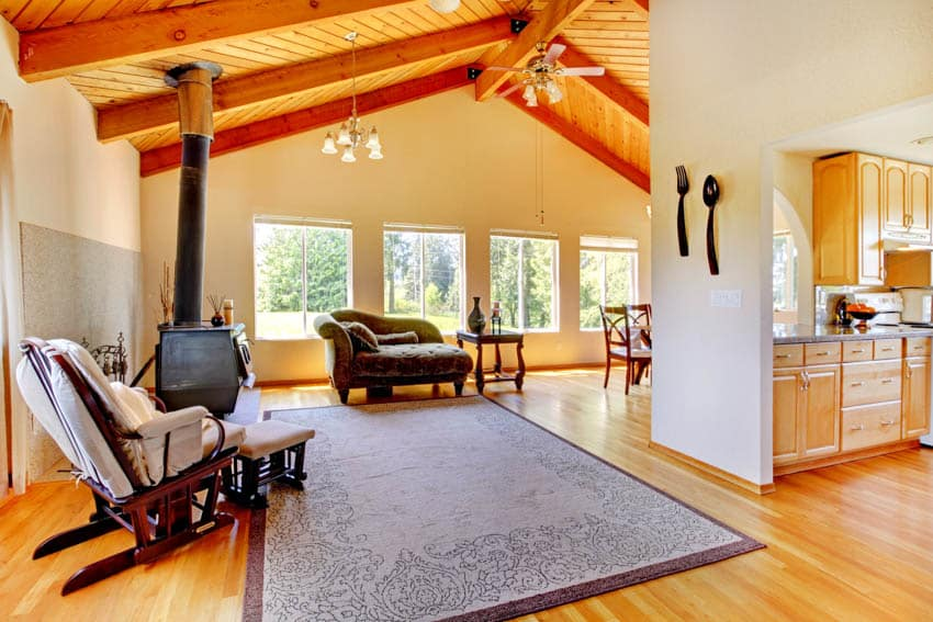 Log cabin style house interior wood floor white wall