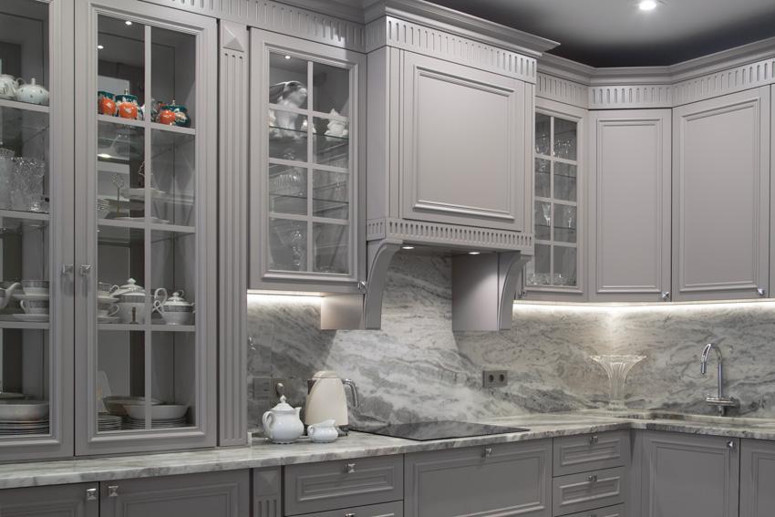 Marble countertop backsplash gray glass cabinets