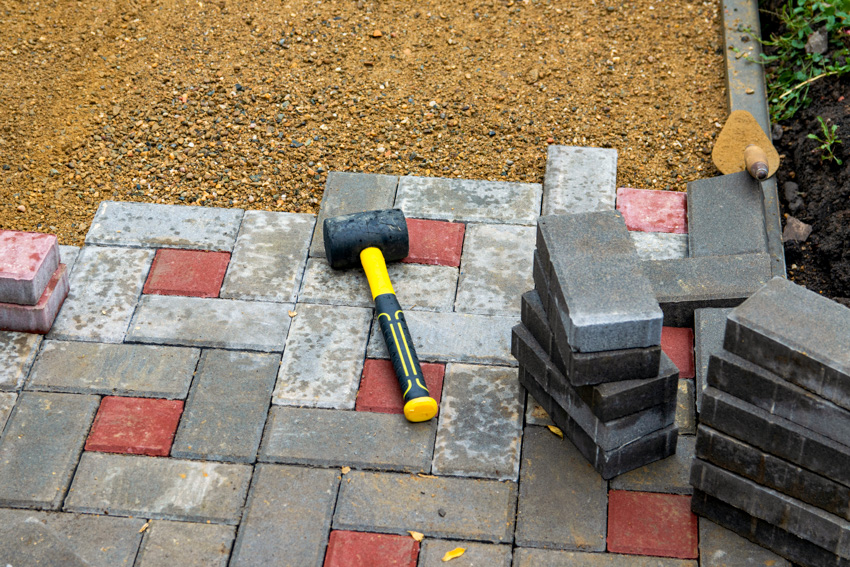 Materials and construction tools for brick walkway