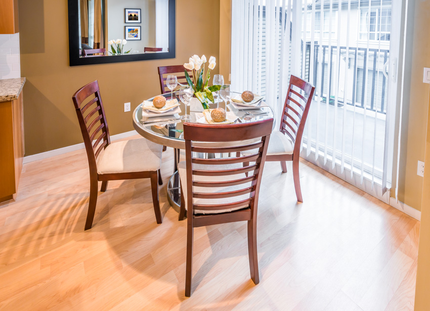 Mirrored tabletop wood floor chairs dining room