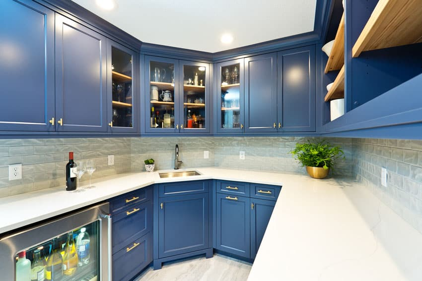 Modern bar pantry room with blue cabinets