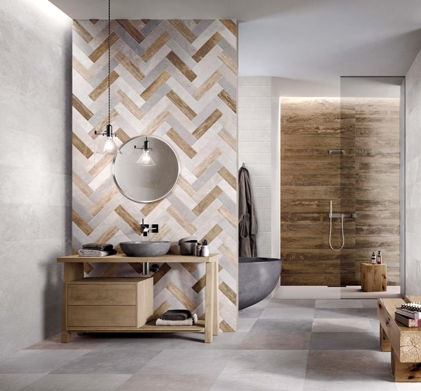 A modern bathroom with grey and beige tiles with seamless design luxurious interior background