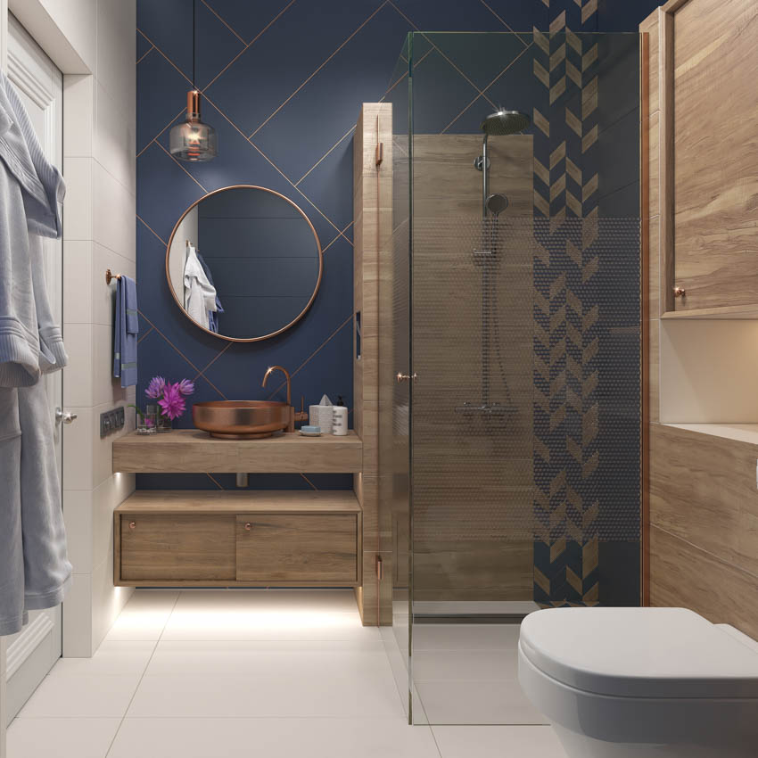 Modern bathroom with wood cabinets shower area mirror copper sink