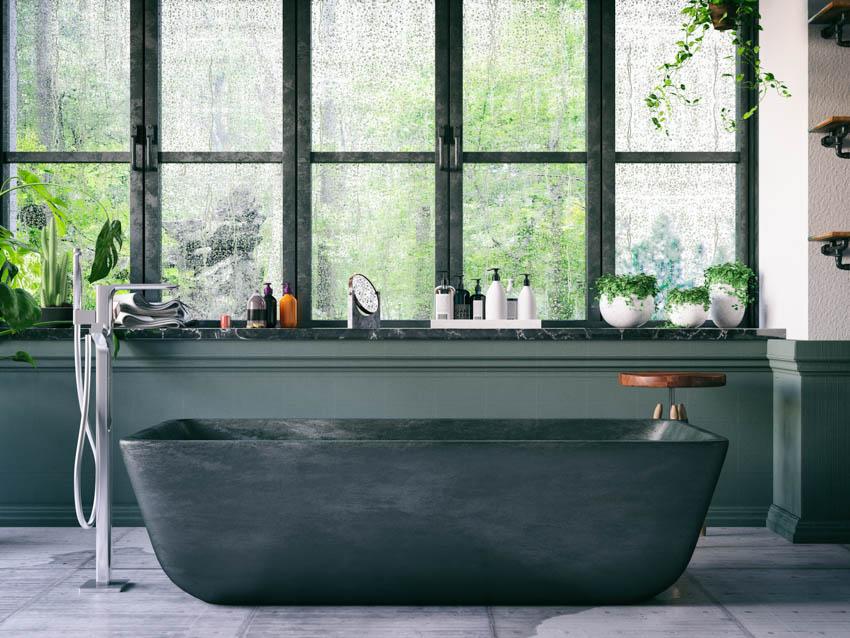 Modern bathtub obscure glass window