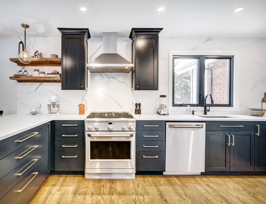 Modern black and cool kitchen with full height quartz backsplash