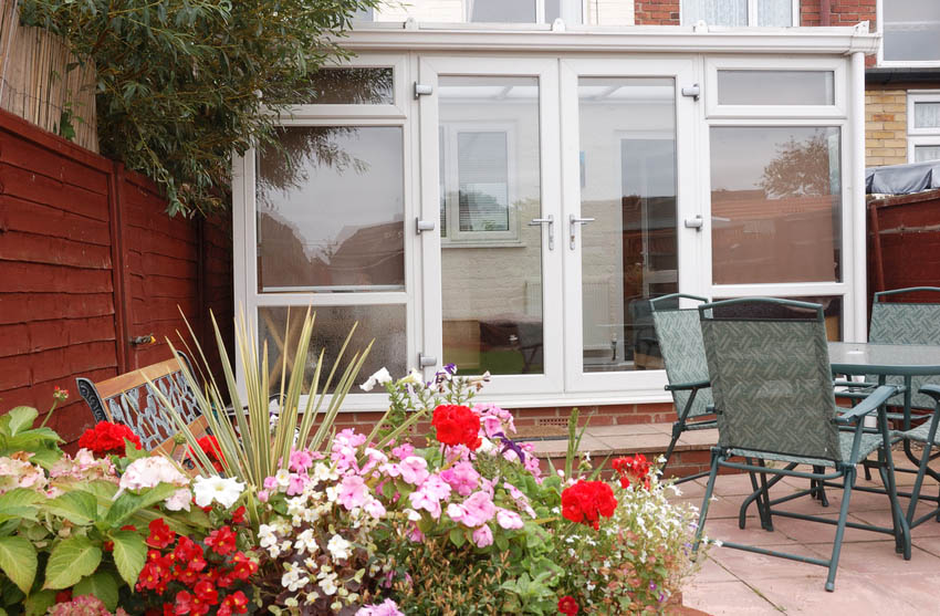 Modern conservatory attached to main house