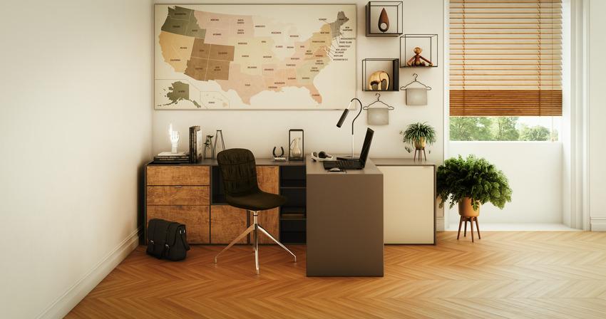 Modern cozy home office interior