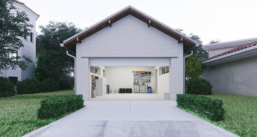 Modern garage with concrete driveway