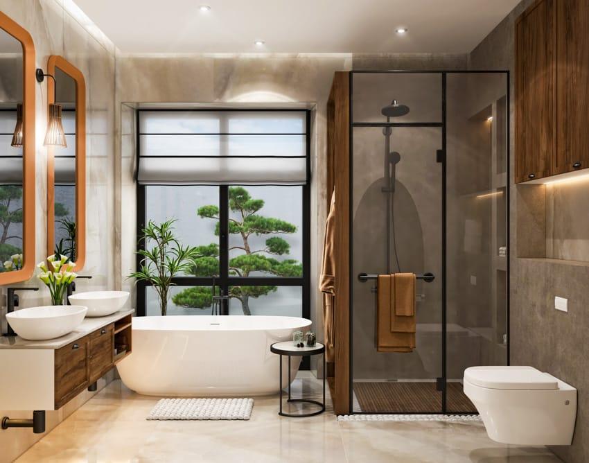 Modern gray and wood bathroom with window glass shower space mirror twin sinks toilet bathtub