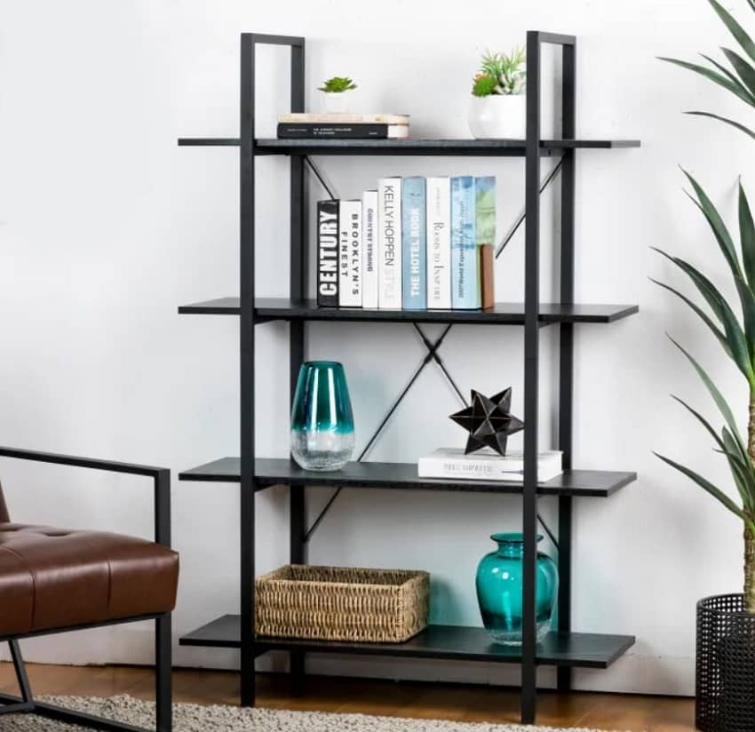 Modern industry 4 tier metal and wooden bookcase