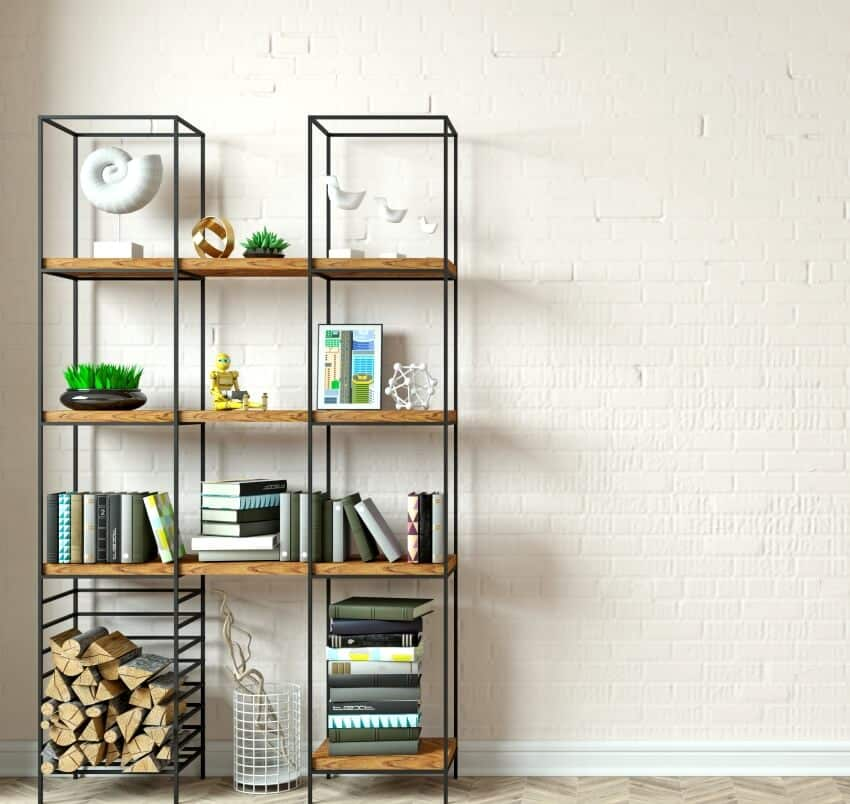 A modern interior with adjustable bookcase