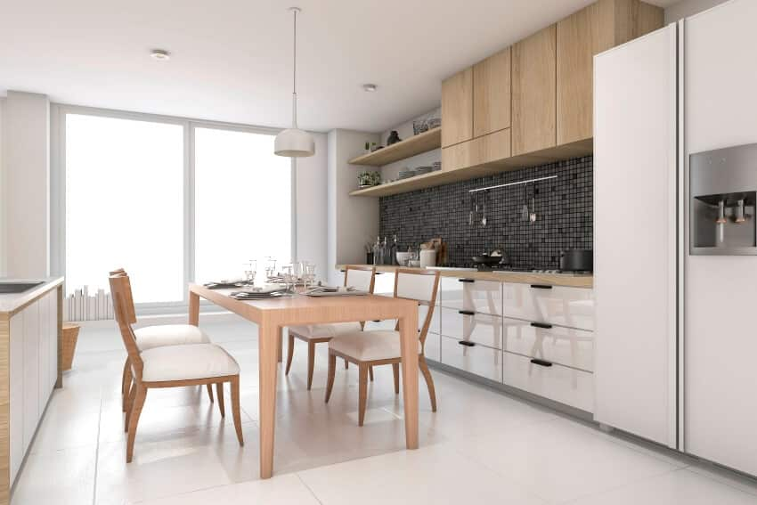 Modern kitchen interior in bright white color with wooden cabinets and dinins set
