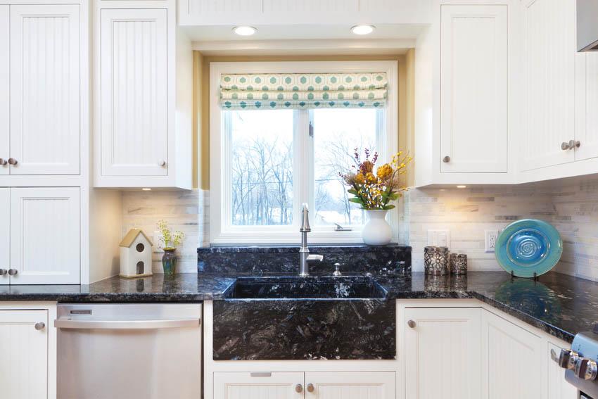 Modern kitchen interior with granite sink