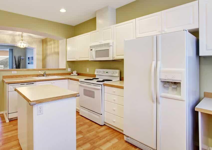 Modern kitchen with hardwood floor kitchen island white cabinets and appliances