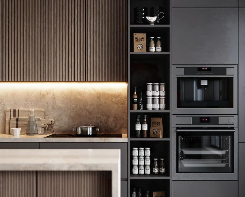 Modern kitchen with matte black pantry shelves