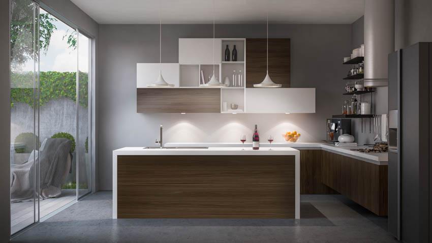 Modern kitchen with wood island cabinets gray floor hanging lights glass door
