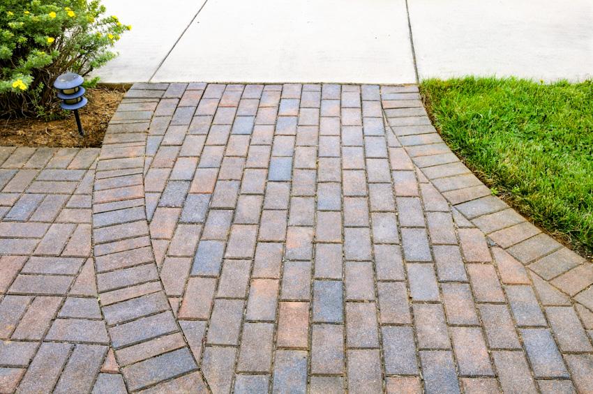 Multi colored bricks concrete walkway