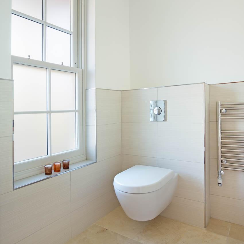 Obscure glass bathroom window toilet