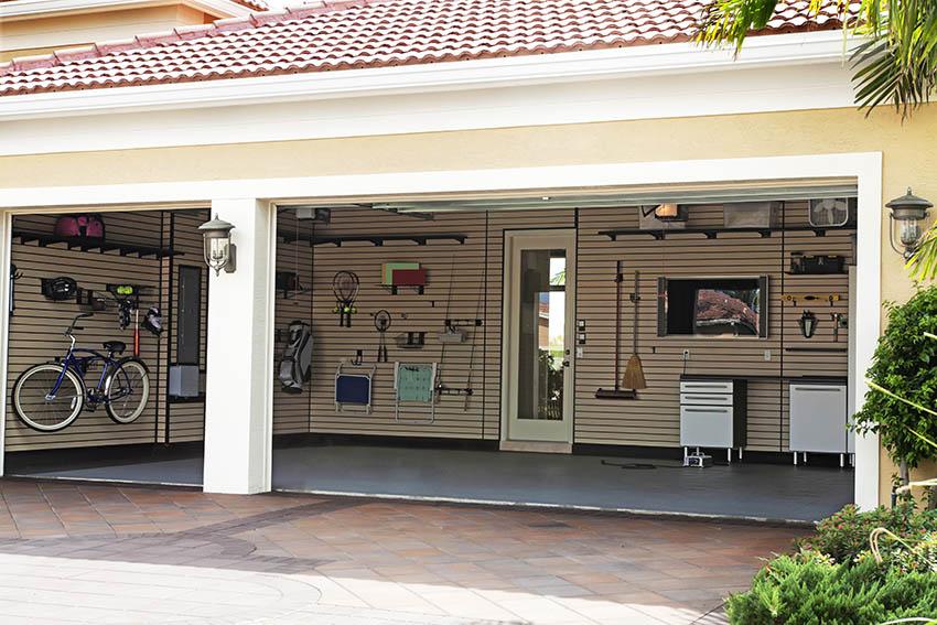 Open modern organized garage