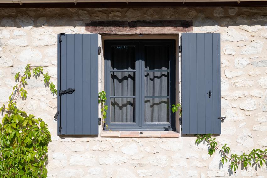 Open window shutters on house facade