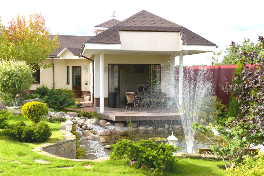 Outdoor area with water fixtures fountain pond