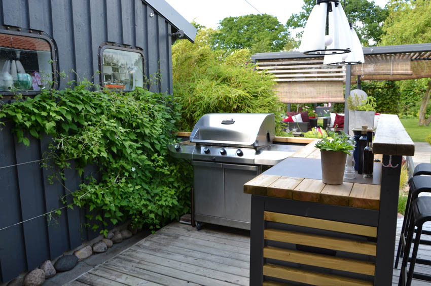 Outdoor kitchen for backyard with grill countertop