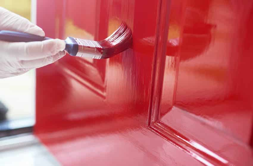 Painting door with red paint