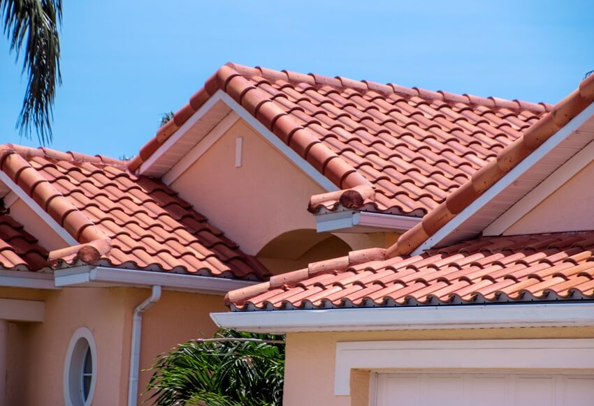 Peach house with barrel tile roof
