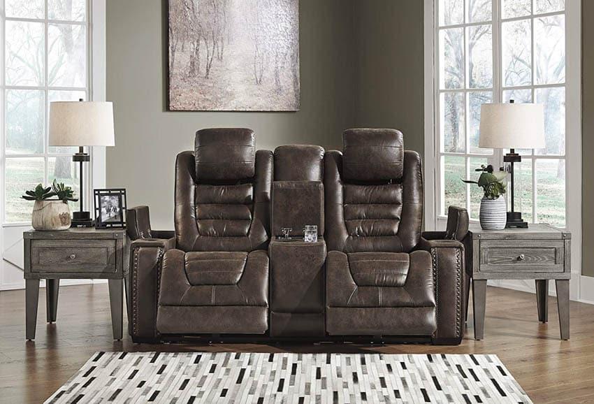 Power headrest recliner chair in living room