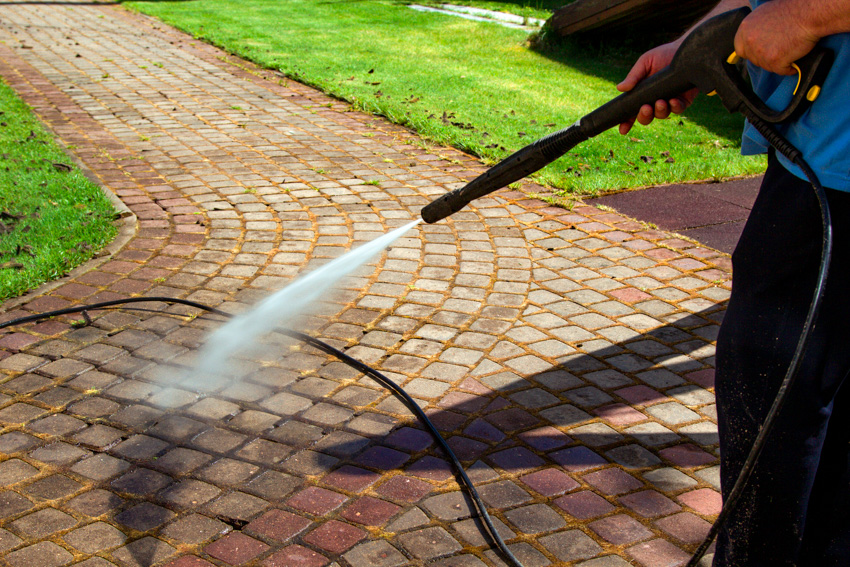 Pressure wash brick walkway cleaning