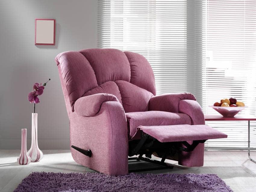 Purple recliner chair on living room rug