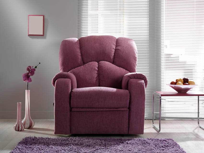 Purple reclining chair rug window blinds
