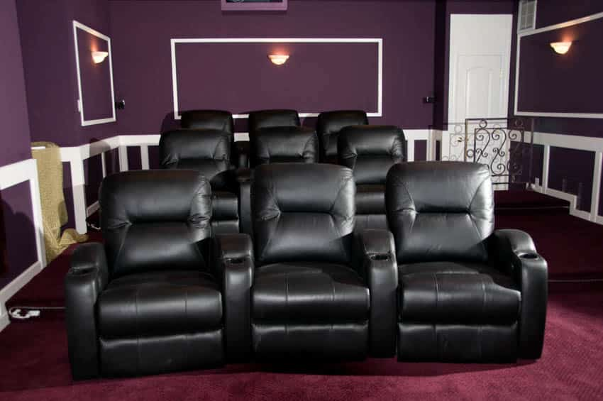 Recliner chairs for home theater purple wall