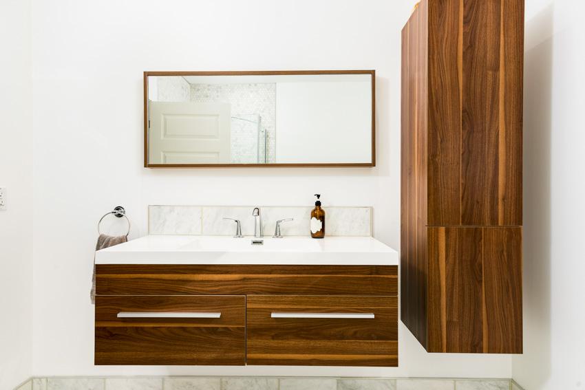 Rectangular mirror bathroom countertop wood cabinet drawers