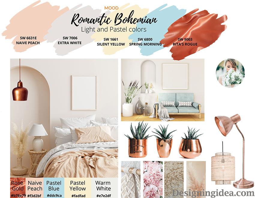 Romantic bohemian paint colors