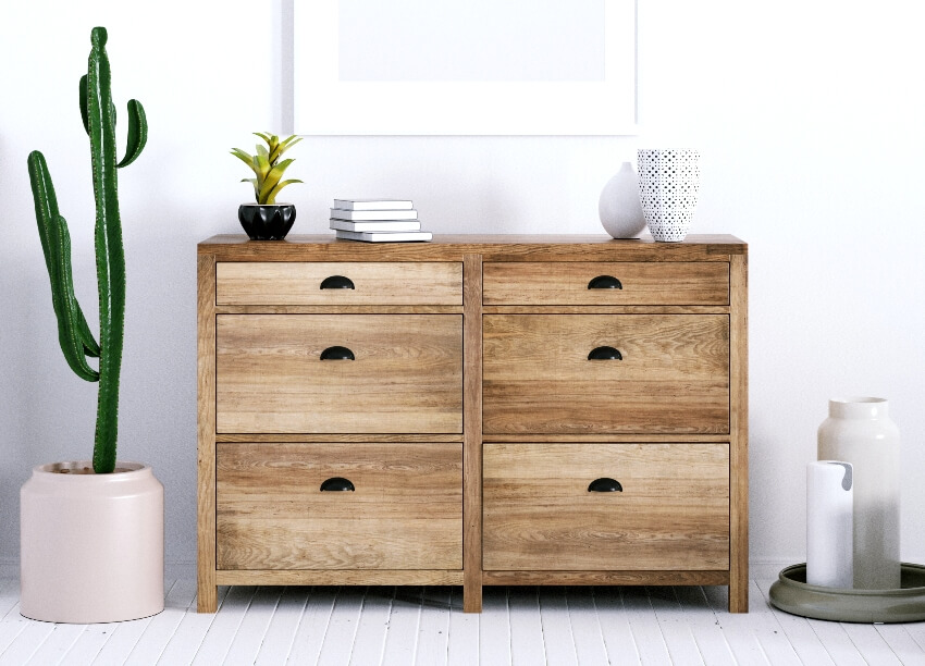 Room with scandinavian dresser indoor cactus and white wooden plank floor