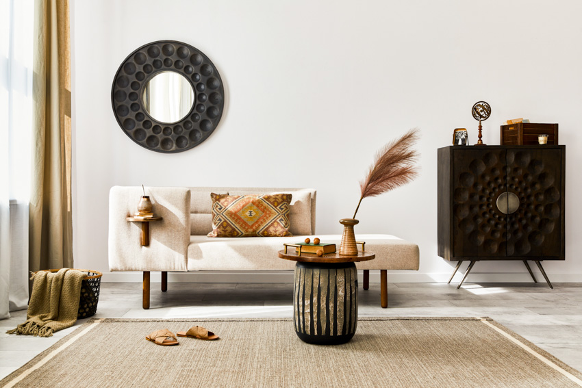 Round classy mirror living room sofa chair