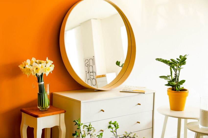 Round mirror on top of drawer small indoor plants