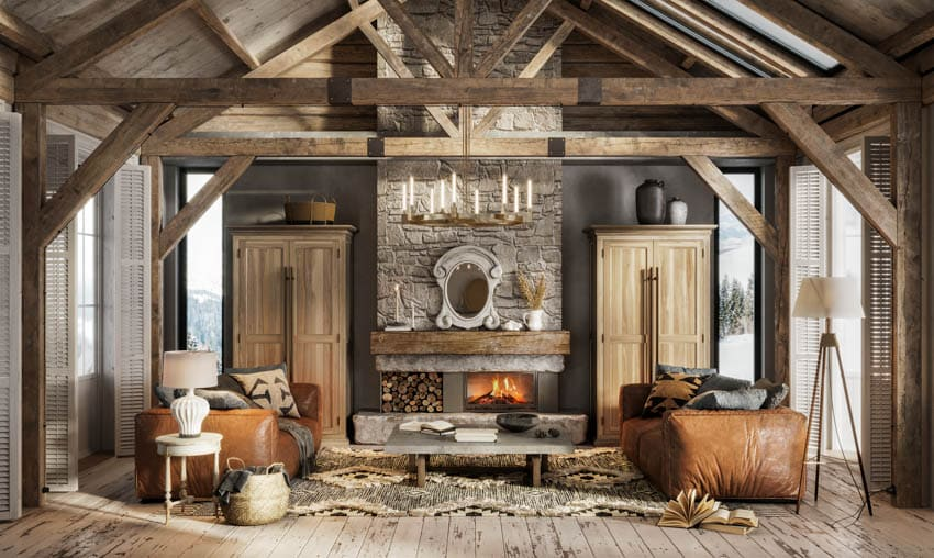 Rustic log cabin with gray wall coffered ceiling wood floor and cabinets