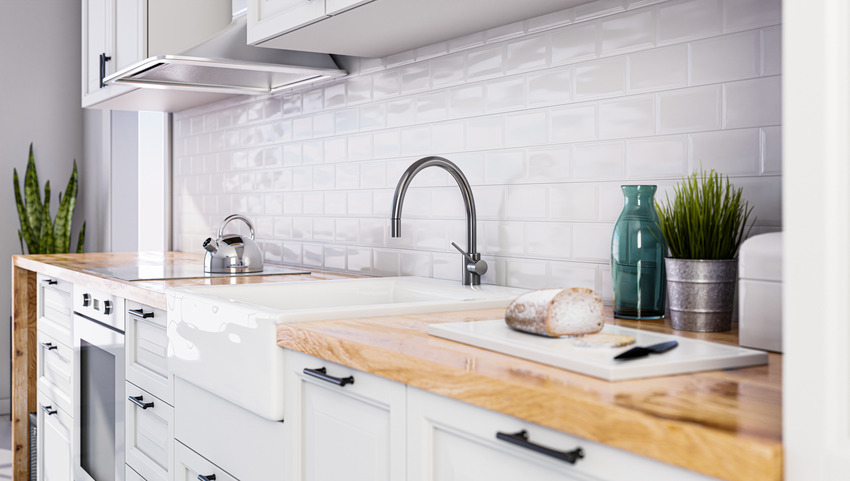 Scandinavian style kitchen with white cabinets plants and sink