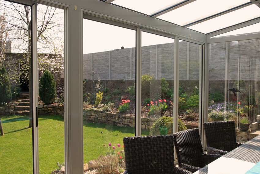 Screen room overlooking garden
