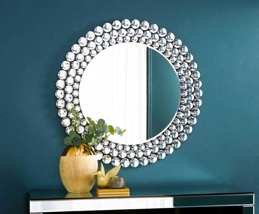 Silvered round mirror green mirror