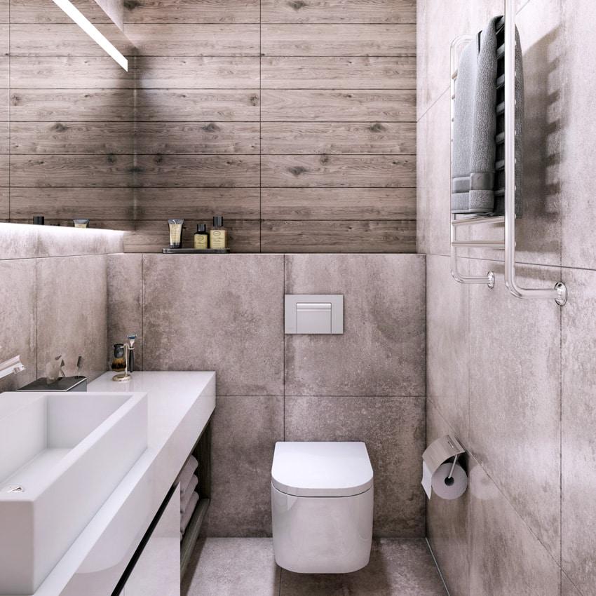 Small gray bathroom toilet sink mirror towel bar