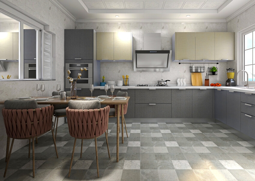 Spacious kitchen with tables and chairs full height backsplash cabinets and kitchenware