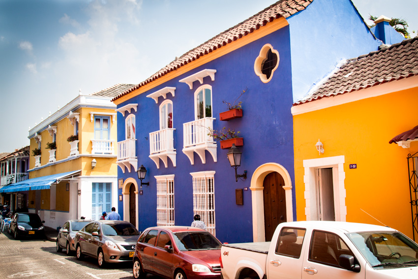 Spanish style house with blue exterior paint color