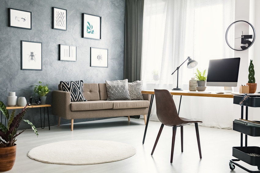 Stylish comfy home office interior with sofa hanging posters and plants