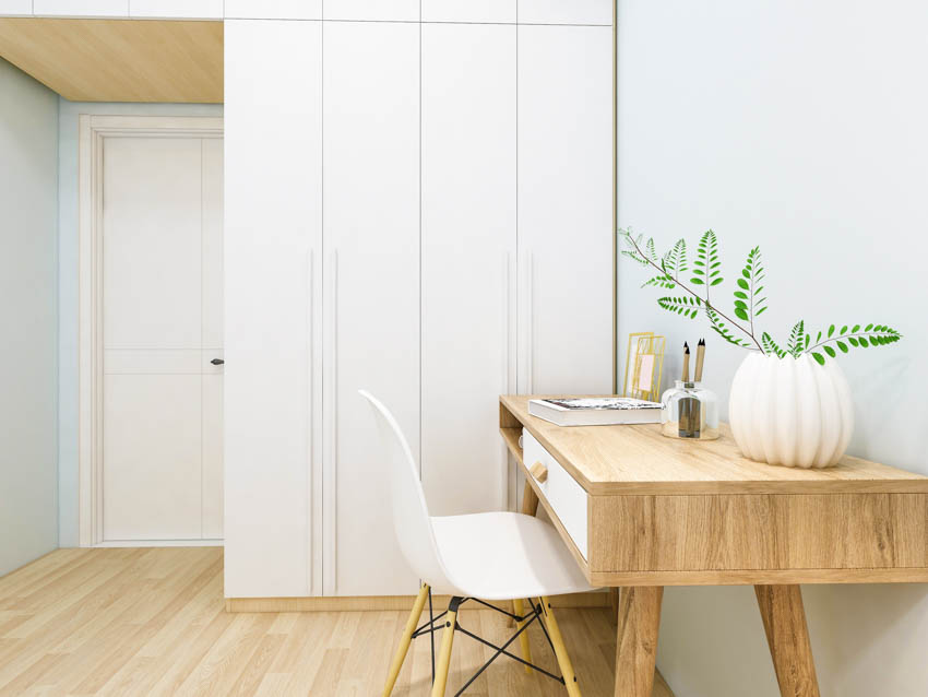 Tiny home office closet wood table floor