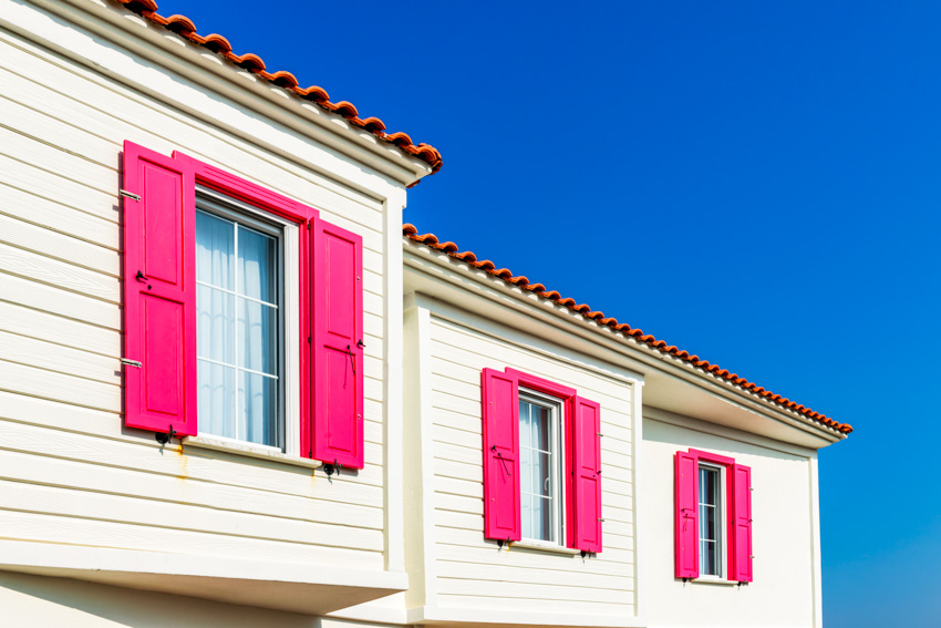 Traditional exterior shutters house siding