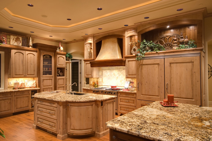 Tuscan kitchen light wood cainets center island recessed lighting