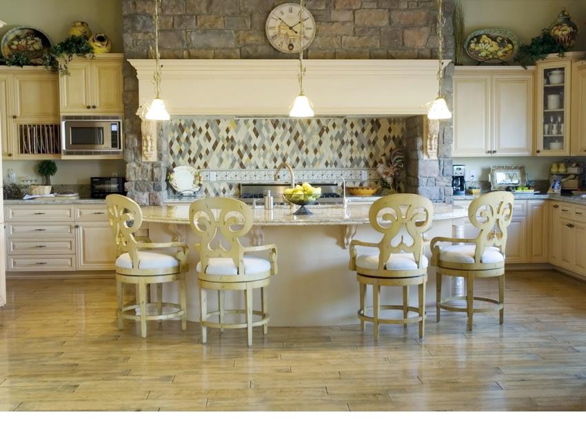 Tuscan kitchen white cabinet stone backsplash hanging light chairs